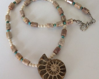 Ammonite Necklace with Fossil Coral, Turquoise and Riverstone