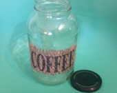 Upcycled Large Jar with Vintage Coffee Burlap Sack Coffee Container K-Cup Holder