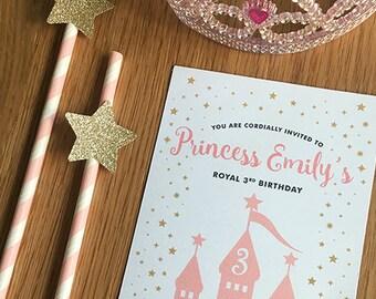 Princess Birthday Invitation, Made to order, Custom - 5x7in
