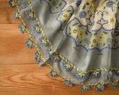 cotton scarf with crochet trim, turkish oya, headscarf, gray yellow