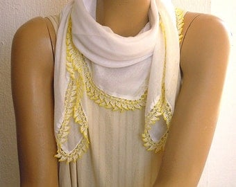 vintage white cotton scarf with yellow beaded trim