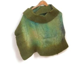 green felted silk shawl