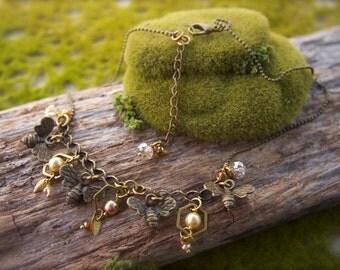 Honey Bee Honeycomb Crystal Necklace