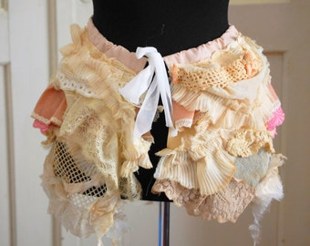 Bustle skirt, shabby chic, layers and frills, victorian, romance, wedding, pale pink, vintage lace, textured, ghost , vampire, ruffles,love