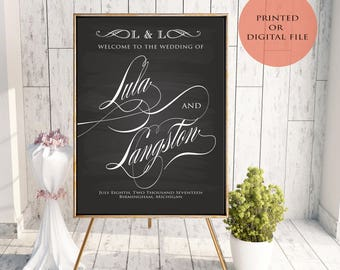 Welcome Wedding Sign - Script - Many Sizes - Poster Print or Digital File