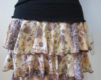 Mix floral print with brown, yellow and cream color mini skirt with 3 layers plus made in U.S.A  (v190)