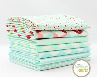 """Basics - Aqua - Fat Quarter  Bundle - 7 - 18""""x21"""" Cuts - Bonnie and Camille - Moda Quilt Fabric"""