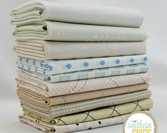 White Low Volume - 10 Fat Quarter Bundle (LV.10FQ) by Mixed Designers for Southern Fabric