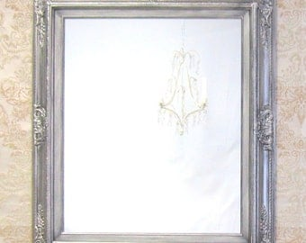 """DECORATIVE WALL MIRRORS Framed Baroque Vanity Mirror Wall Mirror 31""""x27"""" Decorative Silver Framed Mirror Rectangle"""