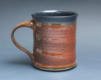 Sale - Handmade pottery coffee mug, ceramic mug, stoneware tea cup 14 oz mug deep glossy tangerine red flake  3925