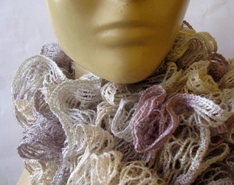 HOLIDAY SALE 50% SALE Knit Scarf - Holiday Gift for Her - Ruffle Lace Jersey Scarf