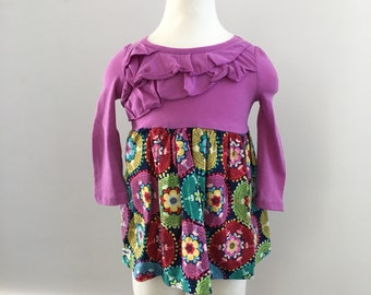 T-shirt Dress with Purple Ruffles, girl, long sleeve, Size 12 month, ready to ship