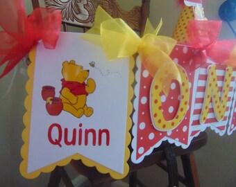 Winnie the Pooh Birthday High Chair Banner- I Am One Disney 1st birthday banner-ONE banner