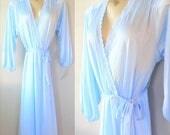 40% OFF SALE Vintage Pastel Blue Dressing Robe / 1970's Woman's Lingerie Ladies Lounge Robe NEW Miss Elaine Long Robe
