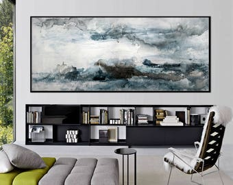 Large Abstract print from Original Painting seascape horizontal modern wall art 'storm over the lake' 591 Elena