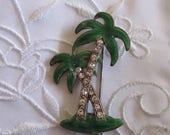 Vintage Pewter Green Palm Tree Brooch with Clear Rhinestones