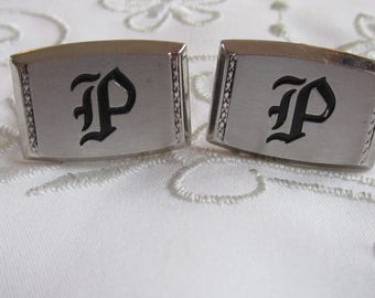 "Vintage Silver Tone Cuff Links with Initial ""P"" on them by Hickok"