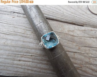 ON SALE Blue topaz ring handmade and antiqued in sterling silver