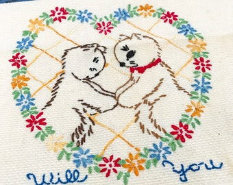 Pair Vintage Animal Needlepoint Tea Towels Cat Dog Will You Marry Me