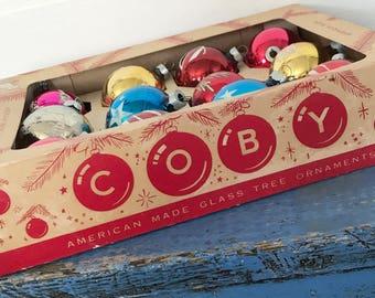 Vintage Coby Christmas Ornament Box, Vintage Christmas Box Ornaments, Box of Multicolor Glitteed Christmas Ball Ornaments