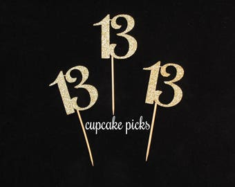 13 Cupcake Picks, 13th Birthday Cupcake Toppers, 13th Birthday Party Decorations, 13th Birthday Party