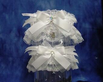 Beauty and the Beast White Iridescent Wedding Garter Set