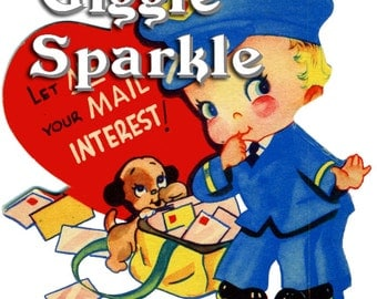 Mailman Boy and Puppy Valentine – Vintage Digital Download – Kitschy Cute Clipart –  2 Instant Download Printable Images –  Valentines Day