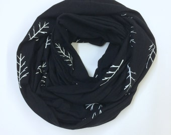 Black and white Twig Print Jersey Infinity Scarf