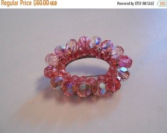 50% Off Sale Miss Golightly Goes Lightly - 1960s Pink Iridescent Facet Cut Crystals on Oval Brooch