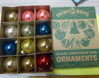 Vintage box Christmas ornaments, Shiny Bright ornaments, Vintage Christmas, old glass ornaments