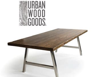 Modern Harvest Wood Conference Table With Reclaimed Wood Top And Steel A  Frame Legs In Choice