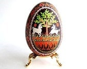 Ornament with horses Goose egg pysanka with Horses hand painted egg shell Ukrainian Easter eggs