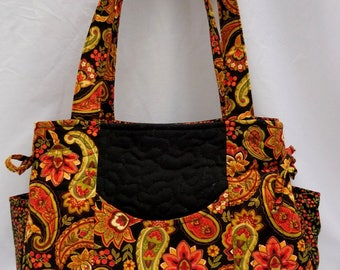 Purse, Quilted Purse, Handmade Purse, Fabric Purse, Orange and Black Purse, Floral Purse, Handbag, Shoulder bag, Tote
