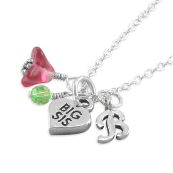 Big Sister Necklace, Sterling Silver, Big Sis Charm, pink, flower, new baby, custom sister gifts, personalized, initial necklaces, BREANNA