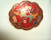 1980s Cloisonnée Red Scarf Clip with Birds and Flowers.