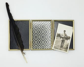 Vintage Tri-Fold Photo Frame, Gold Tone Metal, 3 x 5 Photos, Picture Frame