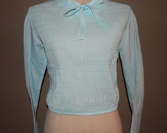 Sweet Lovely Light Blue Pleated Top Blouse Bust 36