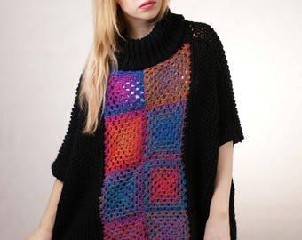Multicolor Plus size Sweater square Multicolor Oversize Sweater Full Figure Sweater Curvy sweater Cardigan