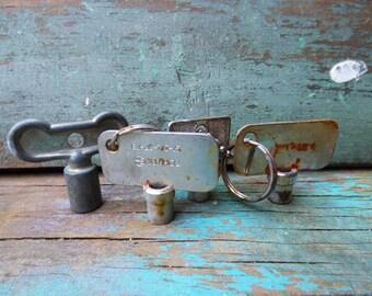 4 vintage Southco Keys trailer RV key Rustic door hardware salvage jewelry keys Supplies gothic steampunk