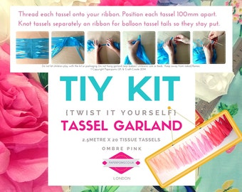 DIY Tassel Garland Kit, tassel garlands, parties, shop display, photo shoot, Ombre Pinks