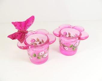 Votive Tea light Holders Pink Rose Flower Buds Hand Painted Set of 2
