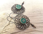Custom Aqua flower Earrings for Lyn