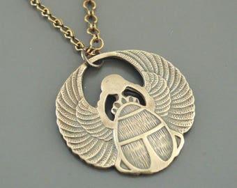 Vintage Necklace - Egyptian Necklace - Scarab Necklace - Statement Necklace - Vintage Brass jewelry - handmade jewelry