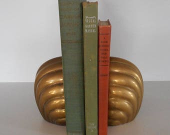 Vintage Brass Bookends Pair Brass Bookends Sea Shell-Shaped Book Ends Decorative Crafts Bookends