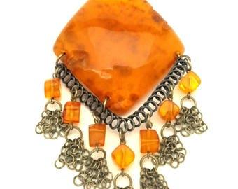 Amber Pendant Baltic Vintage Genuine 19.84 Gr Cognac Color Nizilber For Repair Craft Supplies (WJ232)