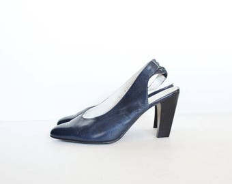 60% off sale // Vintage 80s ROBERT CLERGERIE Designer Stacked Heels - Navy Blue Leather - Women 6M - Slingback
