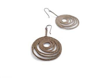 Dark Mocha Beige crochet earrings- statement jewelry -freeform crochet earrings, hypoallergenic earrings