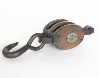 Antique Double Wood Block and Tackle from the Farm