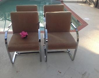 Set of 8 CY MANN CHROME CHAIRs / 8 Cy Mann Flatbar Chrome Chairs / Brno Style Chairs after Knoll Mies Van Der Rohe Retro Daisy Girl