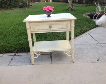 FAUX BAMBOO THOMASVILLE Nightstand / Faux Bamboo Fretwork Side Table / Chinoiserie Faux Bamboo Nightstand at Retro Daisy Girl